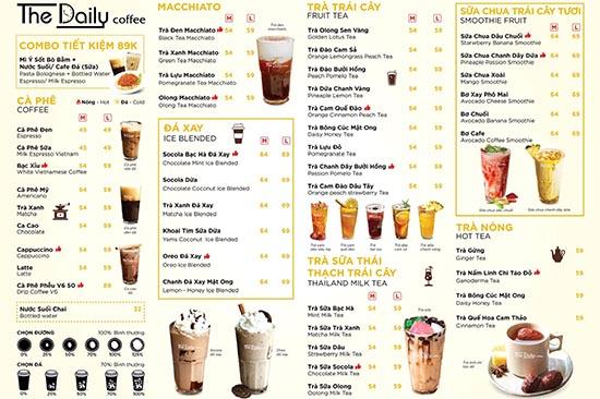 thiết kế menu trà sữa